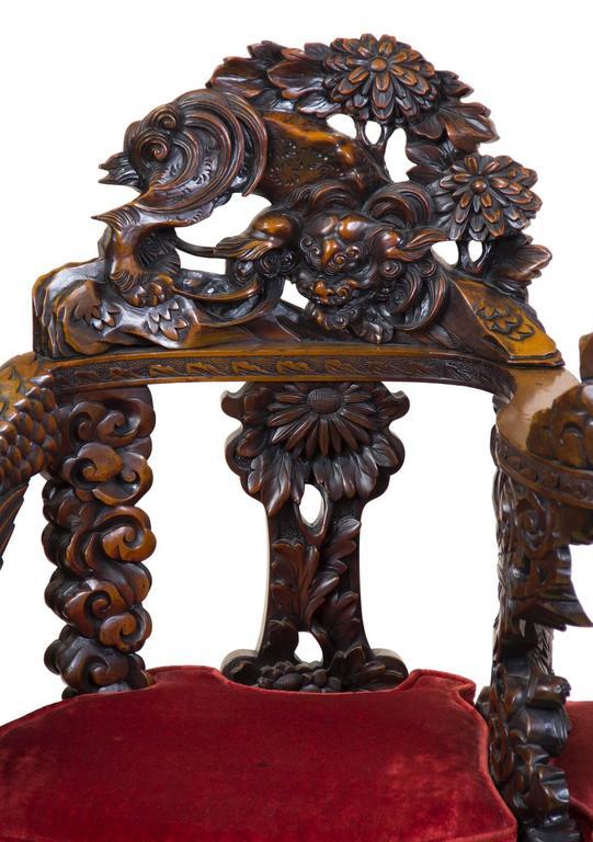 Japanese Magnificent Carved Paduk Tête-à-Tête, Second Half of 19th Century, Japan For Sale