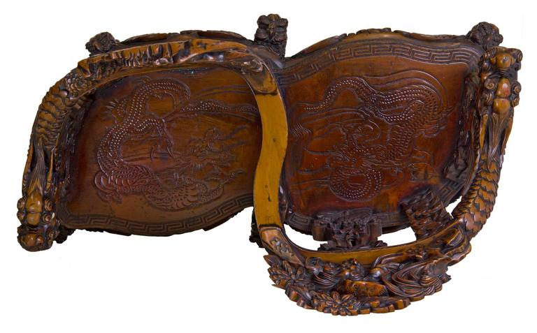 Magnificent Carved Paduk Tête-à-Tête, Second Half of 19th Century, Japan In Excellent Condition For Sale In Providence, RI