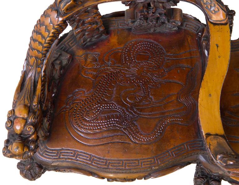 Magnificent Carved Paduk Tête-à-Tête, Second Half of 19th Century, Japan For Sale 1