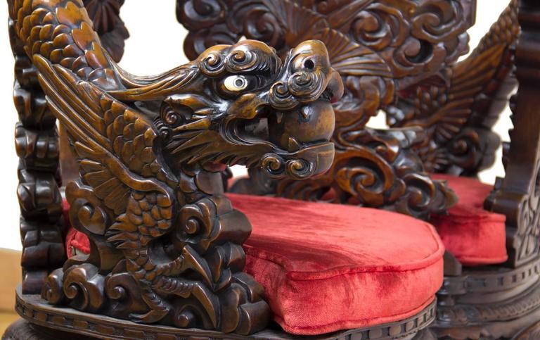 Magnificent Carved Paduk Tête-à-Tête, Second Half of 19th Century, Japan For Sale 2