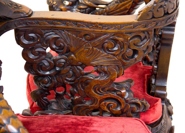 Magnificent Carved Paduk Tête-à-Tête, Second Half of 19th Century, Japan For Sale 4