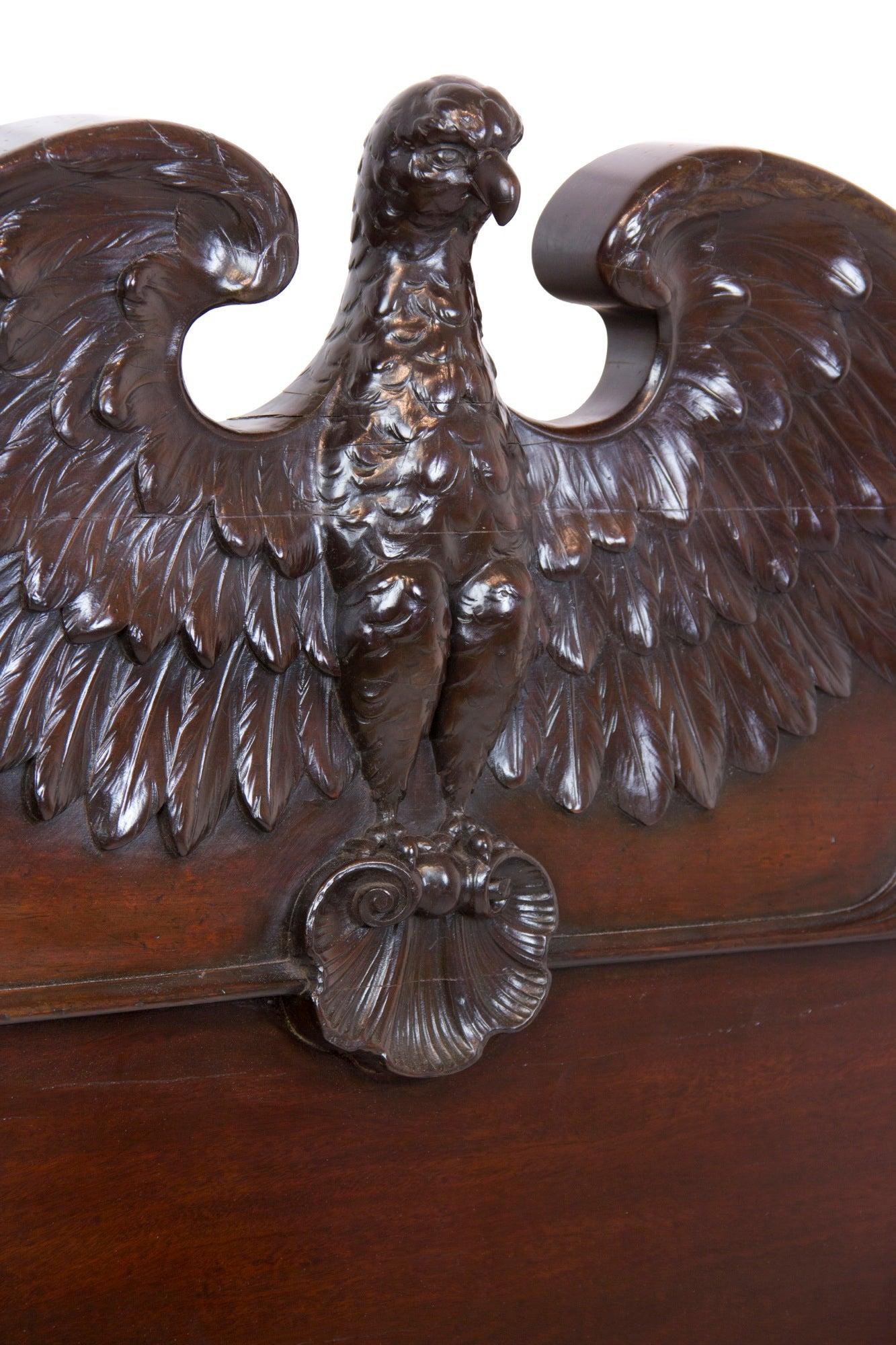 Grand Mahogany Classical Bed With Eagle Headboard, Southern, Circa 1830 1840