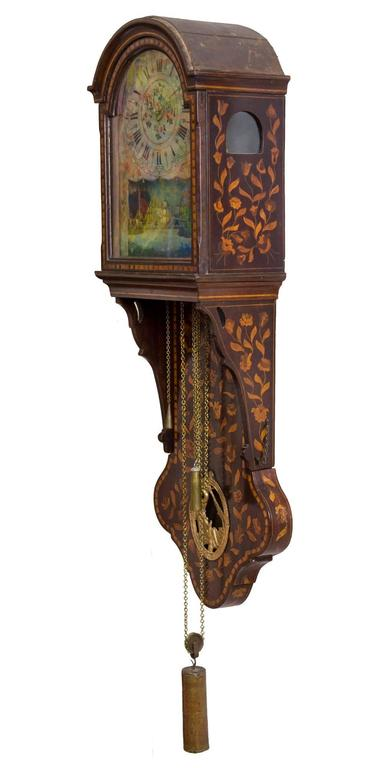 Marquetry Freisland Clock with Automata, Netherlands, circa 1890 In Excellent Condition For Sale In Providence, RI