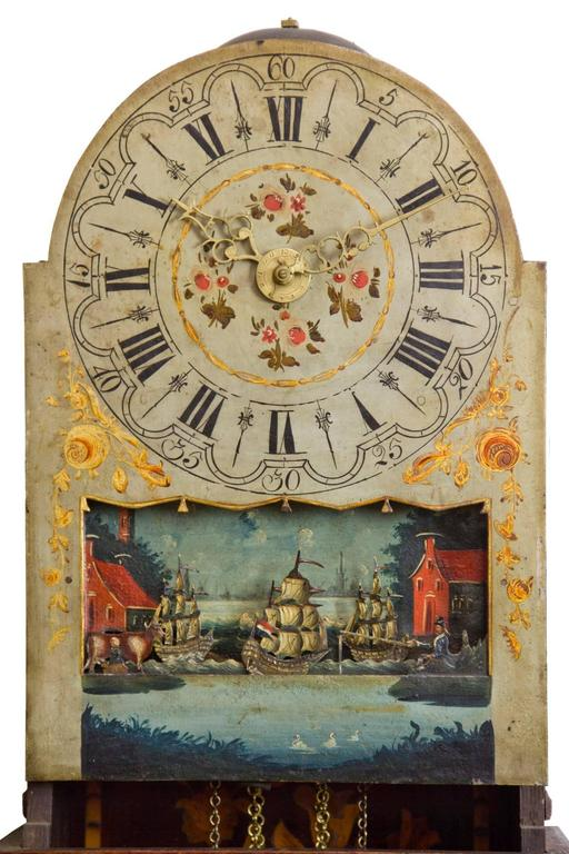19th Century Marquetry Freisland Clock with Automata, Netherlands, circa 1890 For Sale