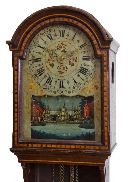Marquetry Freisland Clock with Automata, Netherlands, circa 1890 For Sale 1