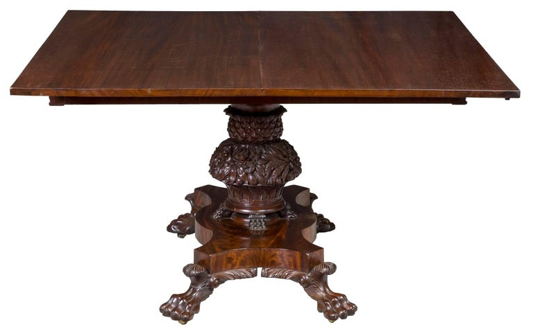 American Monumental Pedestal Classical Mahogany Dining Room Table Philadelphia For Sale