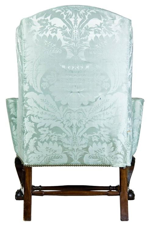 upholstered wing chair with carved knees and claw and ball feet boston 3