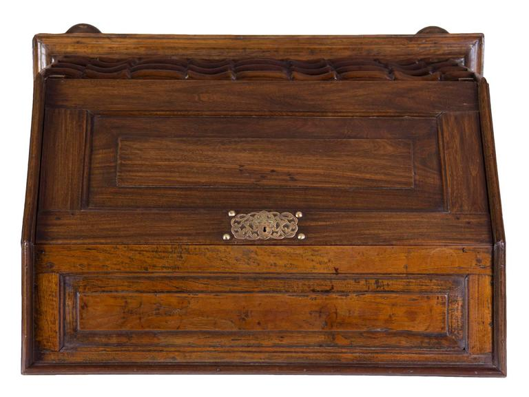 Dutch Colonial Important Paneled Block-Front Paduk Wood Fall-Front Desk, China For Sale