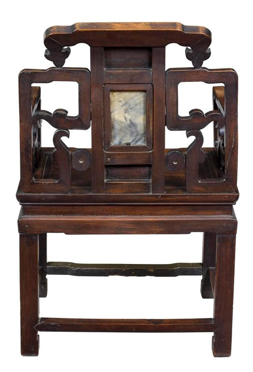Chinese Pair of Brass and Marble-Mounted Carved Mahogany Open Armchairs For Sale