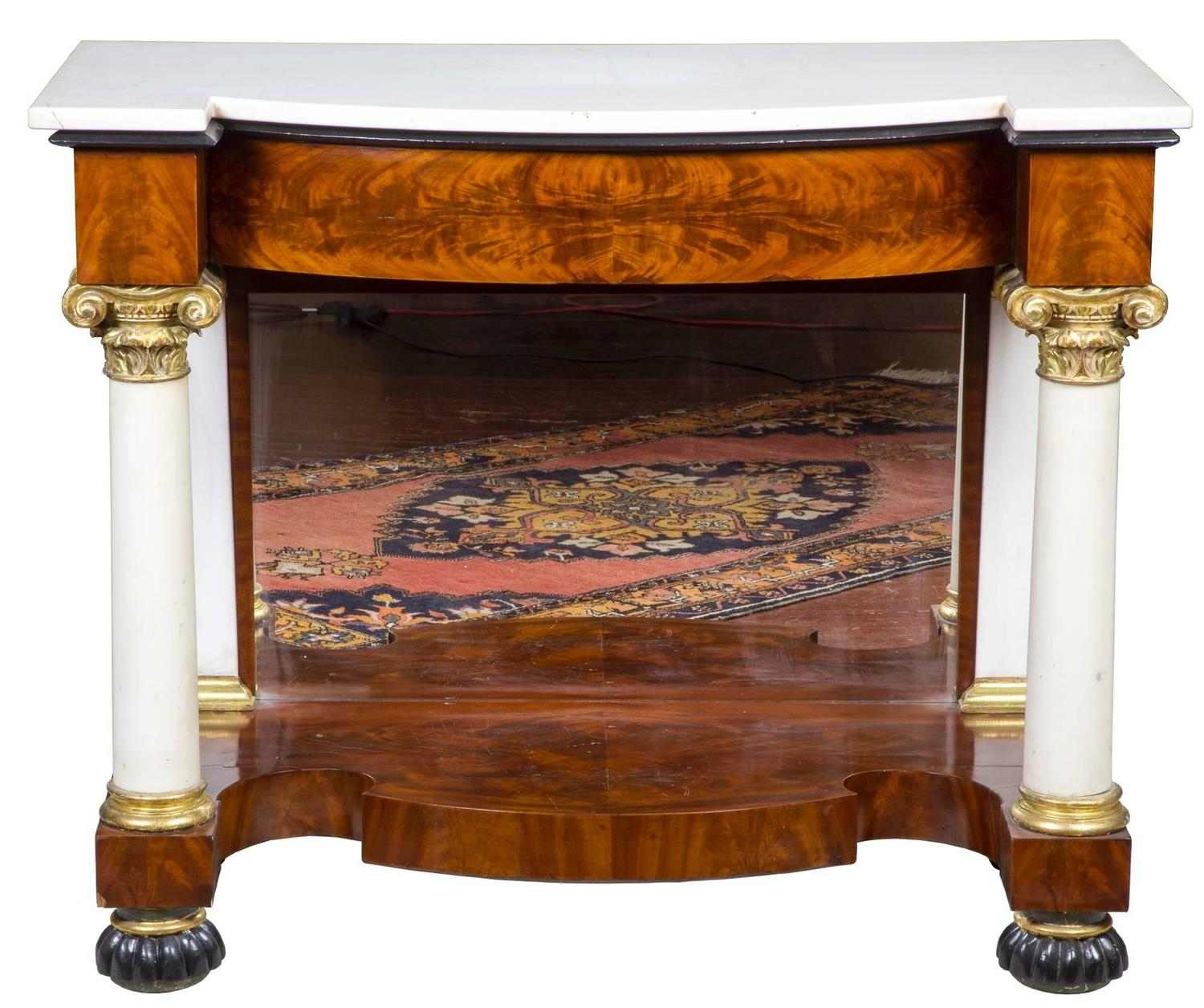 Pair Of Mahogany And Marble Classical Pier Tables For Sale