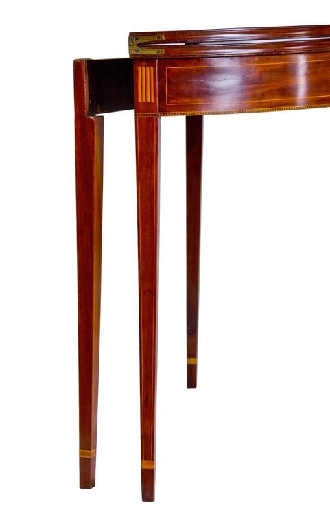 Inlaid Mahogany Hepplewhite Demi-Lune Card Table with Five Legs ...