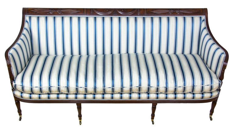 This is the best of the phyfe line of sofas, with the sought-after pronounced turned in arm. A virtually identical example is illustrated in Albert Sack's new fine points of furniture: early American (see item 253, scanned below). Here, Albert calls