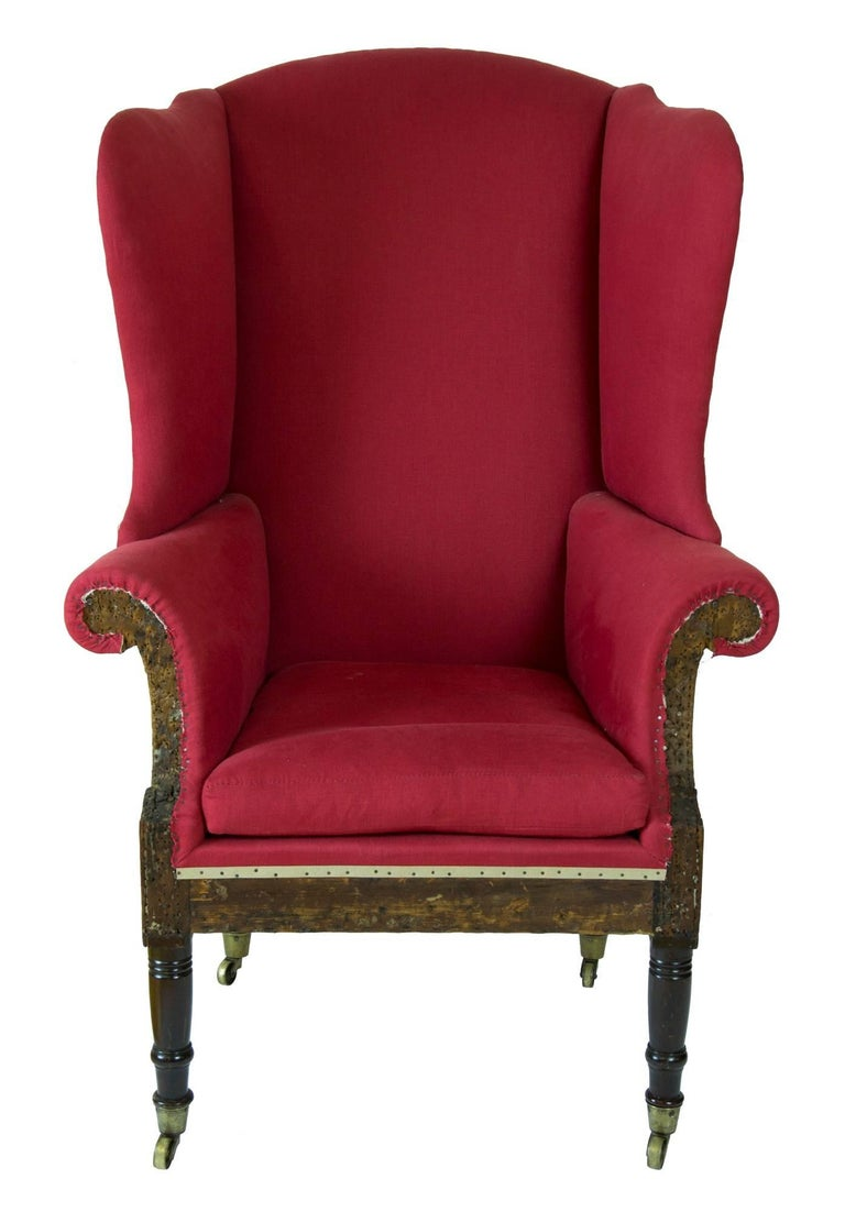 This wing chair is a little gem, as pure as they get, and we show it with the essential upholstery revealing the condition of the structure. It has museum numbers (possibly Mt. Vernon) and probably used for exhibition.   It retains a most