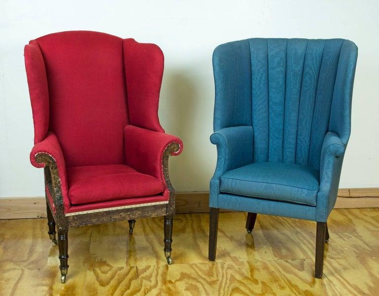 Mahogany Diminutive Federal Sheraton Wing Chair, New England, circa 1800-1810 For Sale