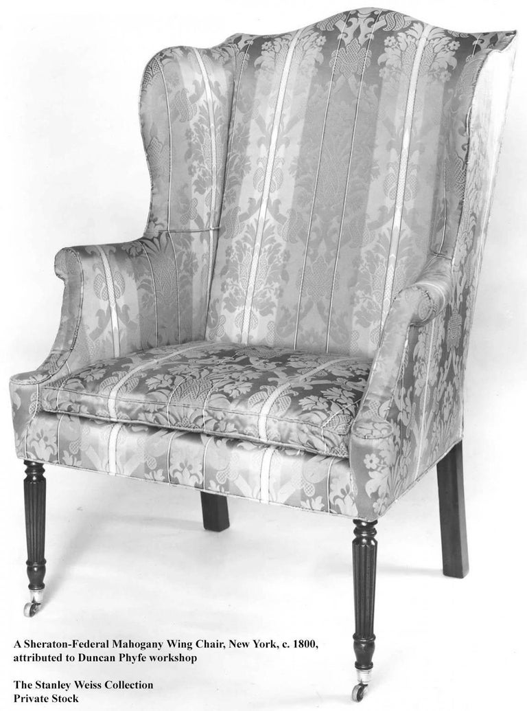 Diminutive Federal Sheraton Wing Chair, New England, circa 1800-1810 For Sale 1