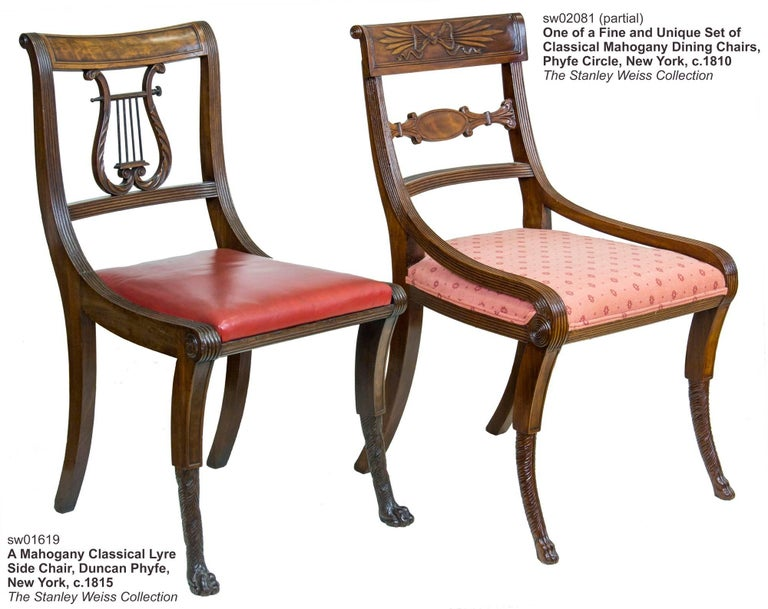 Set of Six Classical Mahogany Dining Chairs, Phyfe Circle, New York, circa 1810 For Sale 1