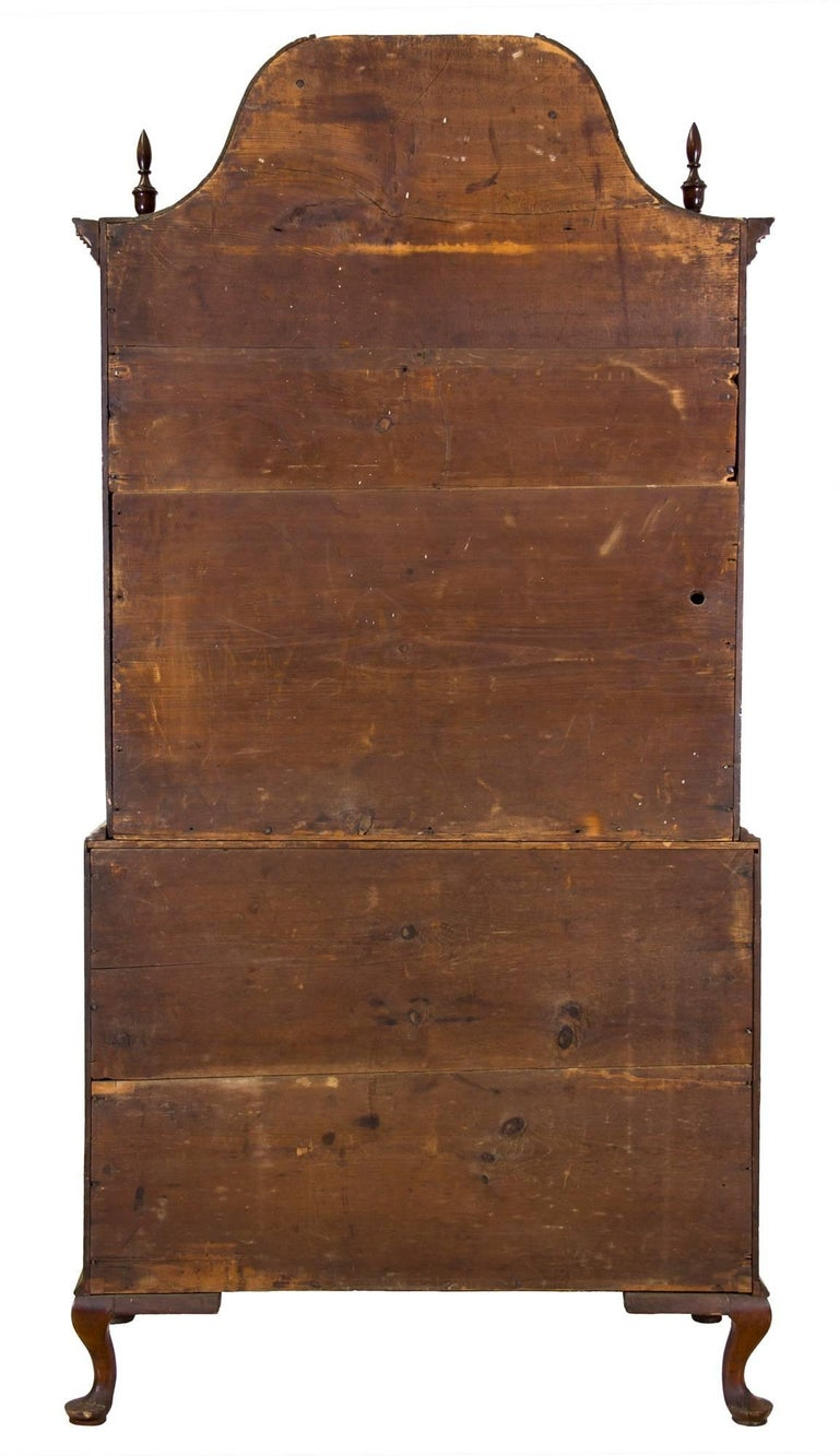 Chippendale Bonnet Top Chest-on-Chest, Cherrywood, Wethersfield, CT For Sale 2