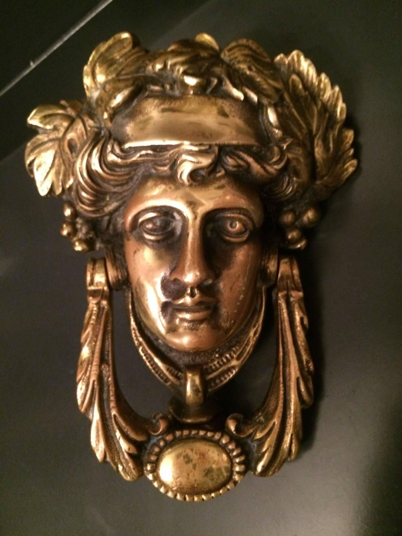 Vintage Solid Brass Female Door Knocker Made In England