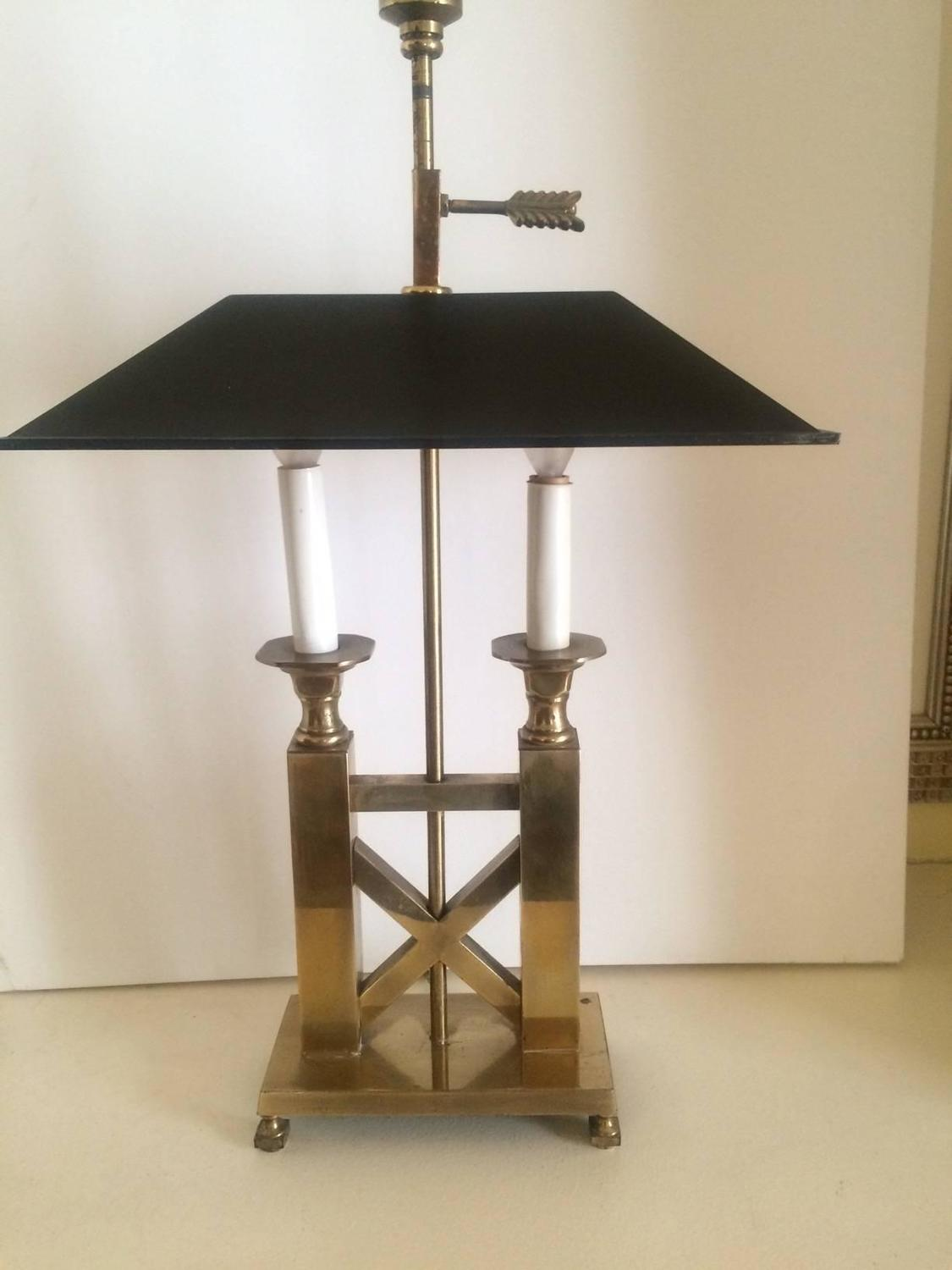 solid brass bouillette style table lamp with metal shade. Black Bedroom Furniture Sets. Home Design Ideas