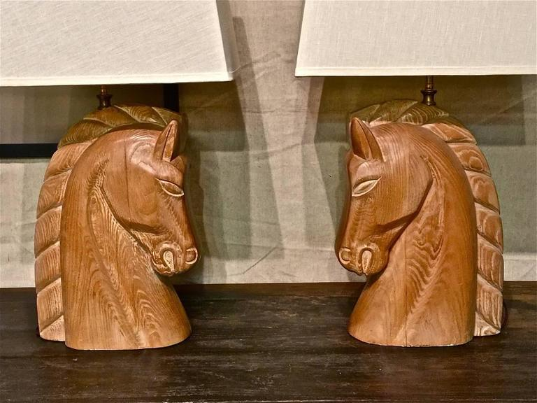 Pair Of Billy Haines Carved Wood Horse Head Lamps At 1stdibs