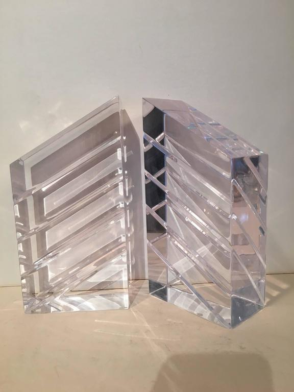 Pair of Lucite bookends by Ritts and Co.