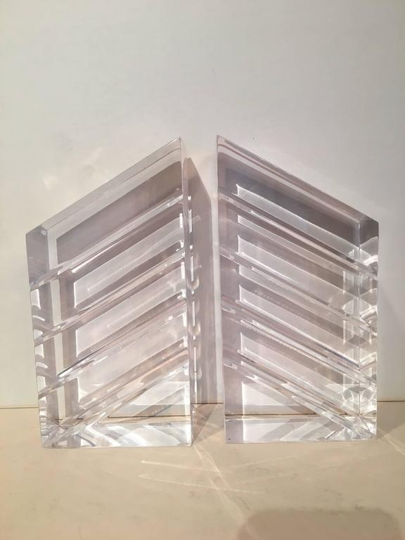 Mid-Century Modern Pair of Lucite Bookends by Ritts & Co. For Sale