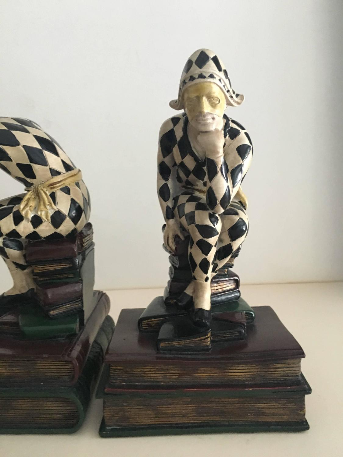 Unique Pair Of Harlequin Bookends For Sale At 1stdibs