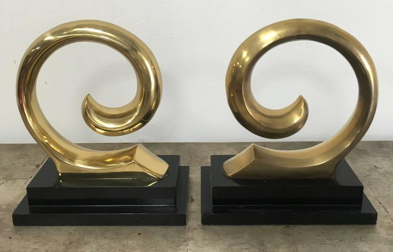 Mid-Century Modern Monumental Pair of Pierre Cardin Brass Bookends For Sale