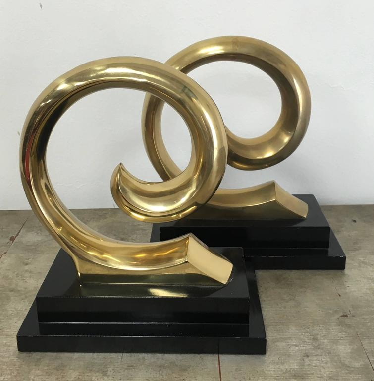 French Monumental Pair of Pierre Cardin Brass Bookends For Sale