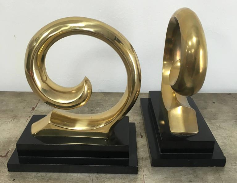 Monumental Pair of Pierre Cardin Brass Bookends In Excellent Condition For Sale In Los Angeles, CA
