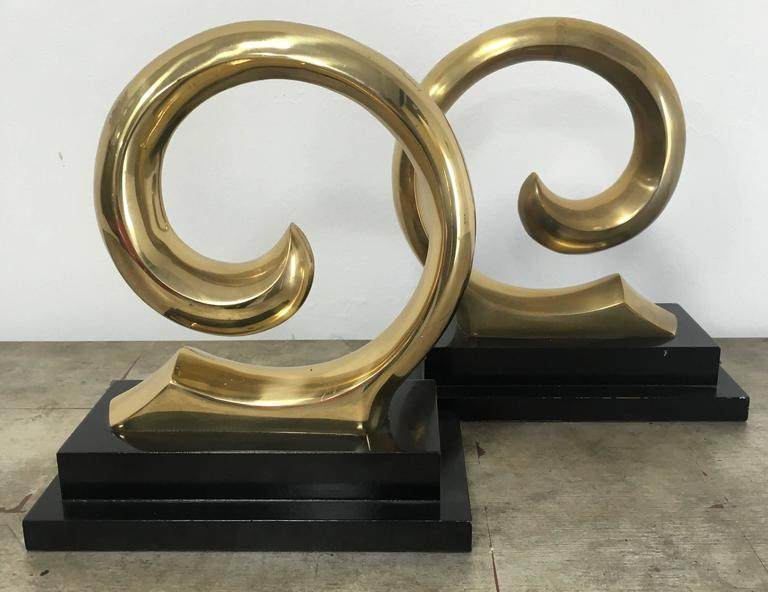 20th Century Monumental Pair of Pierre Cardin Brass Bookends For Sale