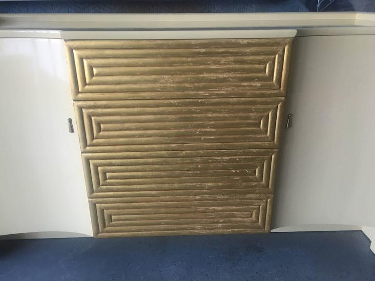 Gold Leaf Rare Cream Lacquer Buffet by Johann Tapp for Gumps, circa 1940 For Sale