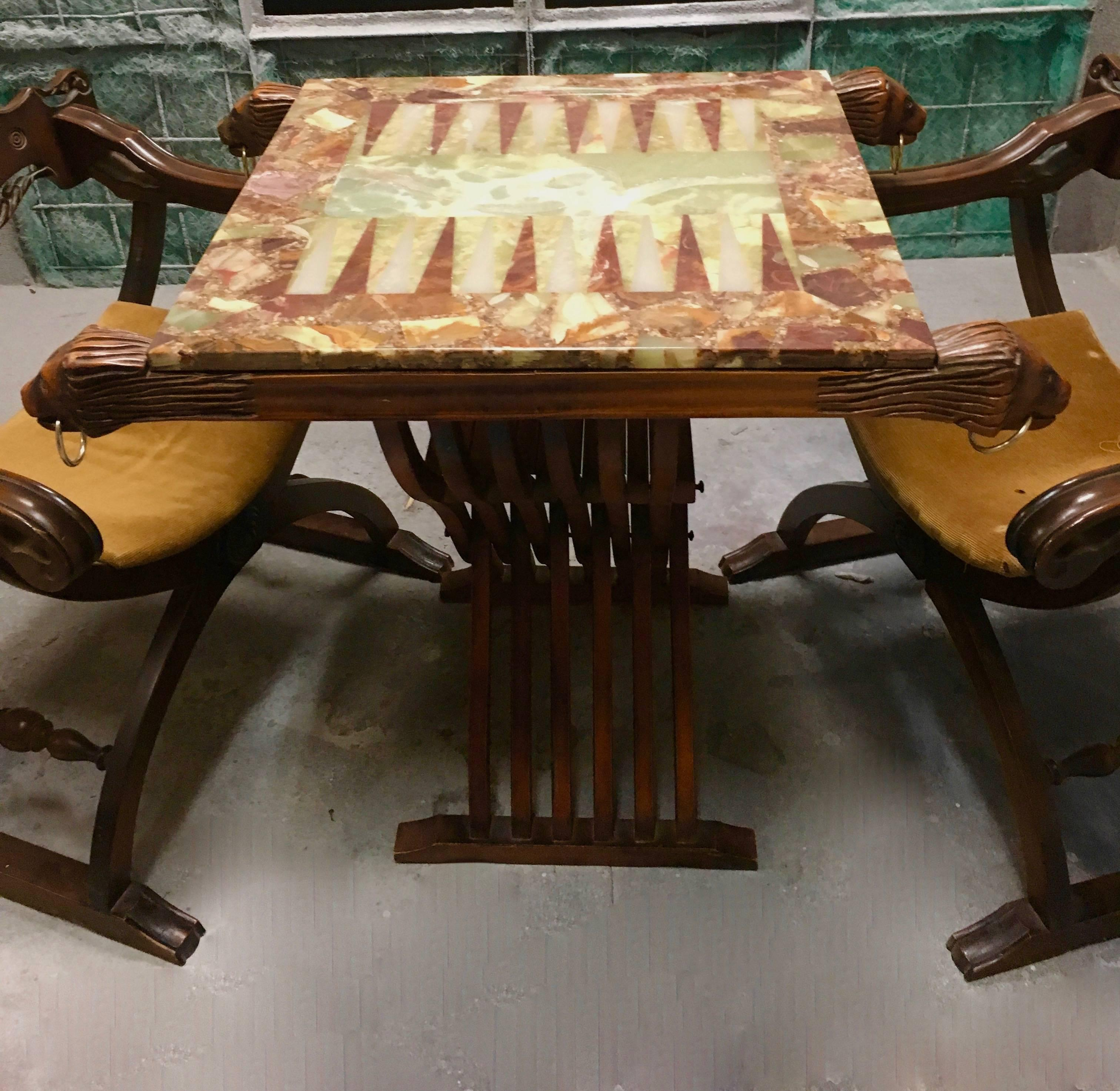 Pair Of Savonarola Chairs And Slatted Folding Table With Onyx Backgammon Board For At 1stdibs
