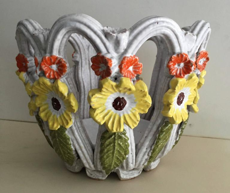Mid-Century Modern Majolica Open Weave Bowl with Flowers For Sale