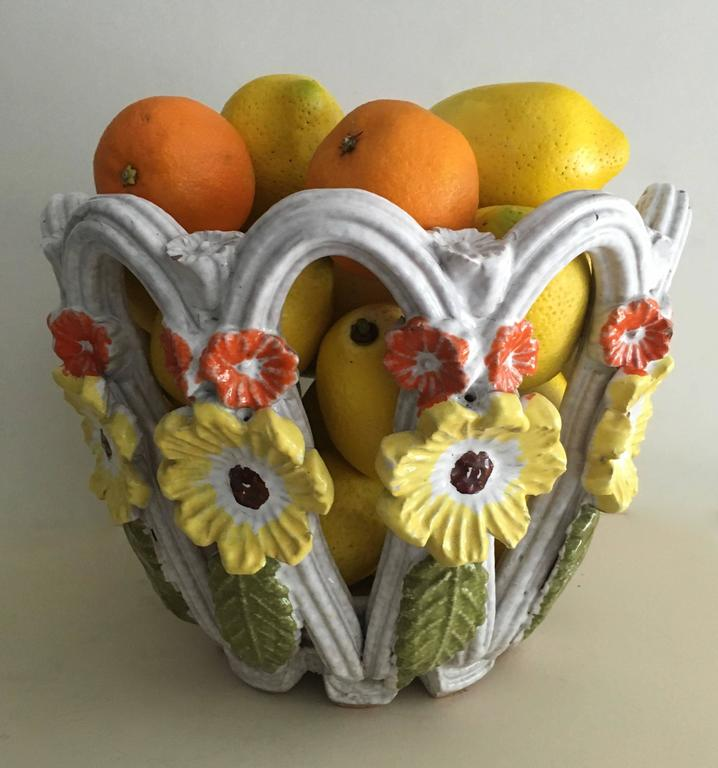 Italian Majolica Open Weave Bowl with Flowers For Sale