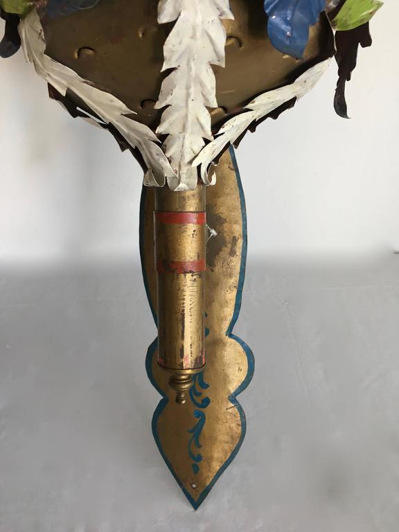 Pair of Painted Wall Sconce Lanterns in the Manner of Tony Duquette In Excellent Condition For Sale In Los Angeles, CA