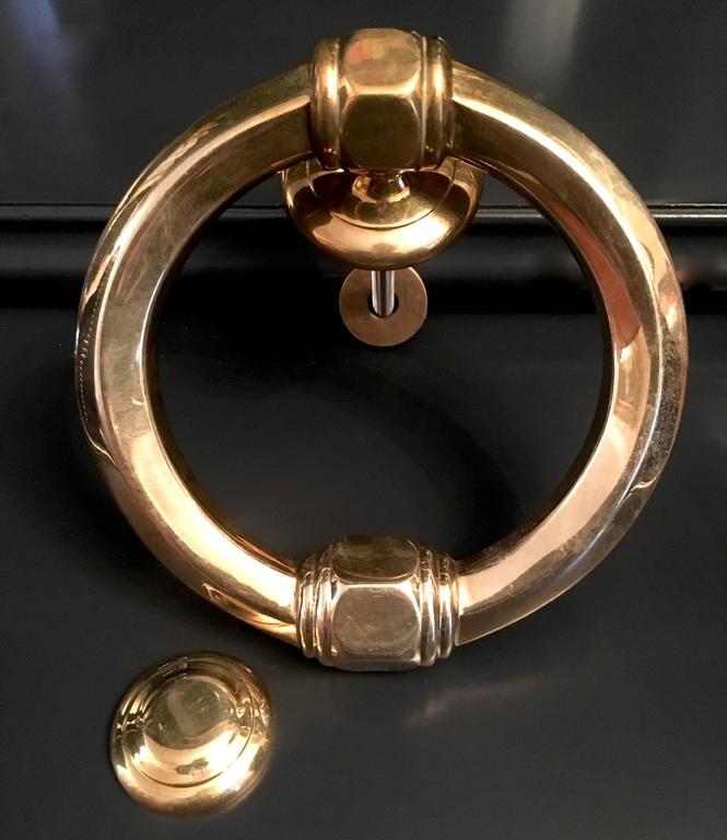 Monumental Round Decorative Brass Door Knocker For Sale At