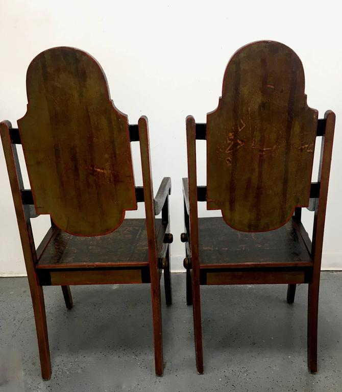 Pair of Unique 19th Century Hand-Painted Moroccan Armchairs In Excellent Condition For Sale In Los Angeles, CA