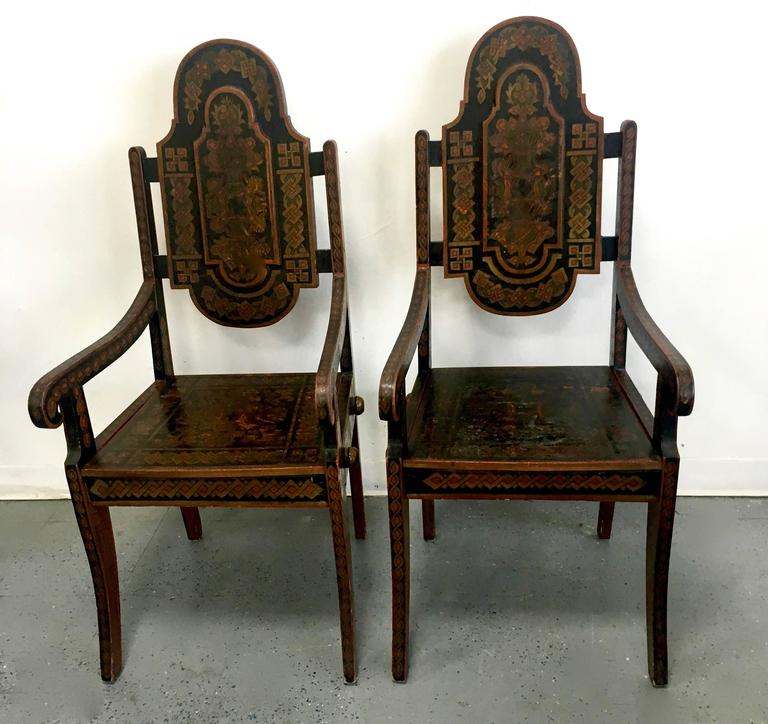 Pair of Unique 19th Century Hand-Painted Moroccan Armchairs For Sale 1