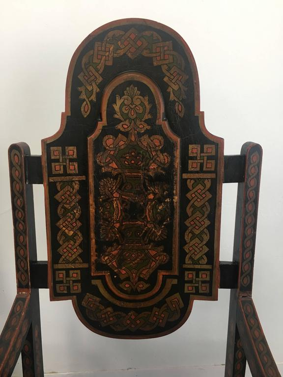 Pair of Unique 19th Century Hand-Painted Moroccan Armchairs For Sale 2