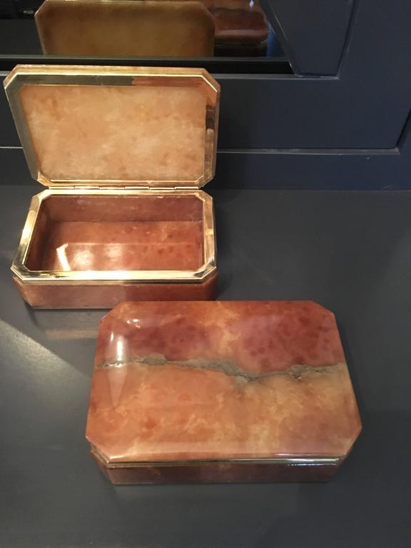 Pair Of Italian Alabaster Boxes With Brass Trim For Sale