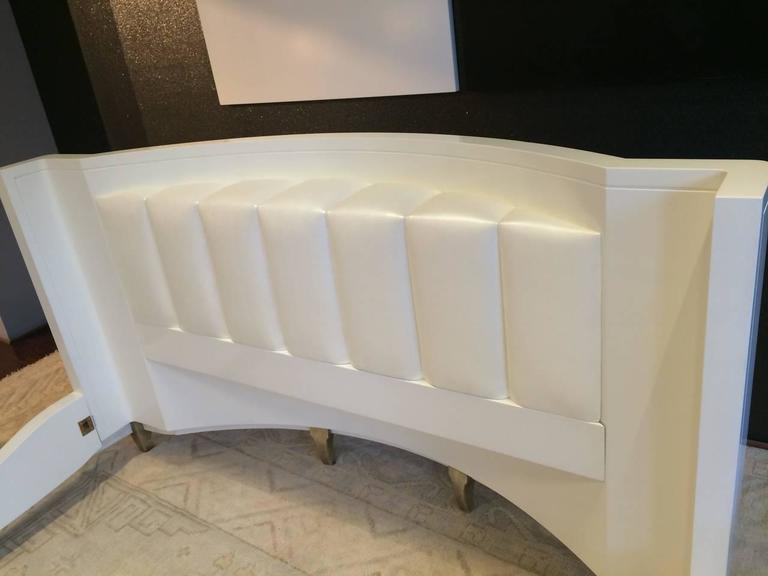 American King Sized Hollywood Regency Style Bed with Radius Headboard and White Gold Leaf For Sale
