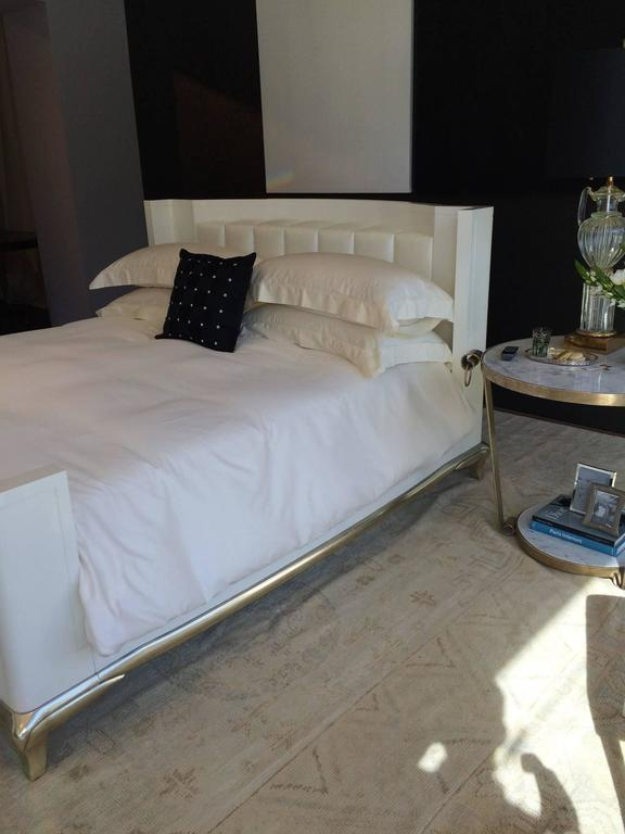King Sized Hollywood Regency Style Bed with Radius Headboard and White Gold Leaf For Sale 3
