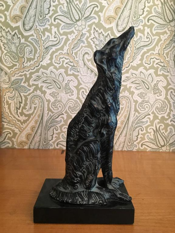 Mid-Century Modern Metal Sculpture of Borzoi Dog on Marble Stand Bookend For Sale