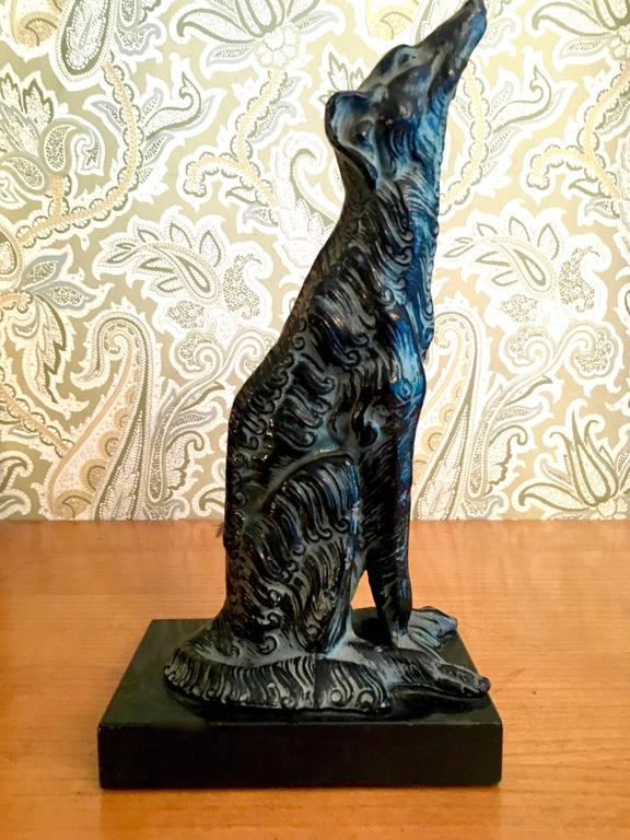 Metal Sculpture of Borzoi Dog on Marble Stand Bookend In Excellent Condition For Sale In Los Angeles, CA