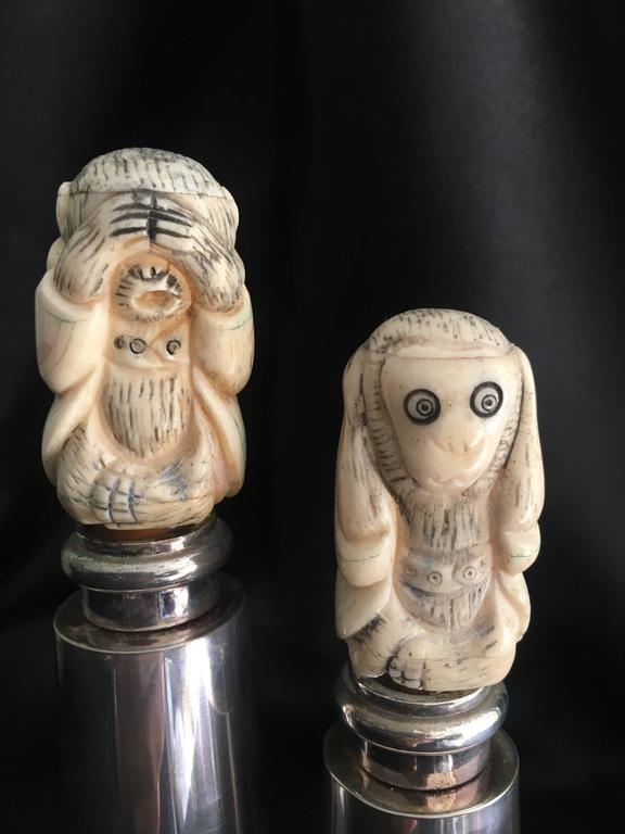 Mid-Century Modern Hans Turnwald Art Carved Bone Salt and Pepper Shakers / Grinders For Sale