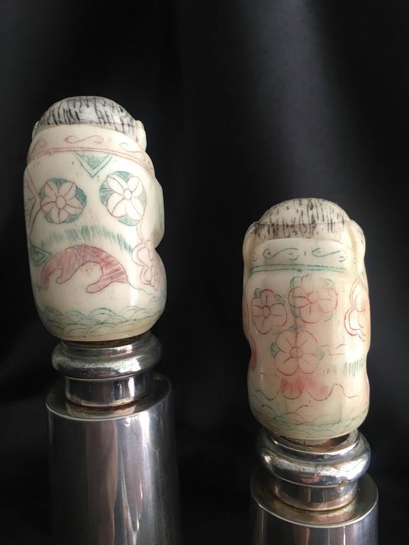German Hans Turnwald Art Carved Bone Salt and Pepper Shakers / Grinders For Sale