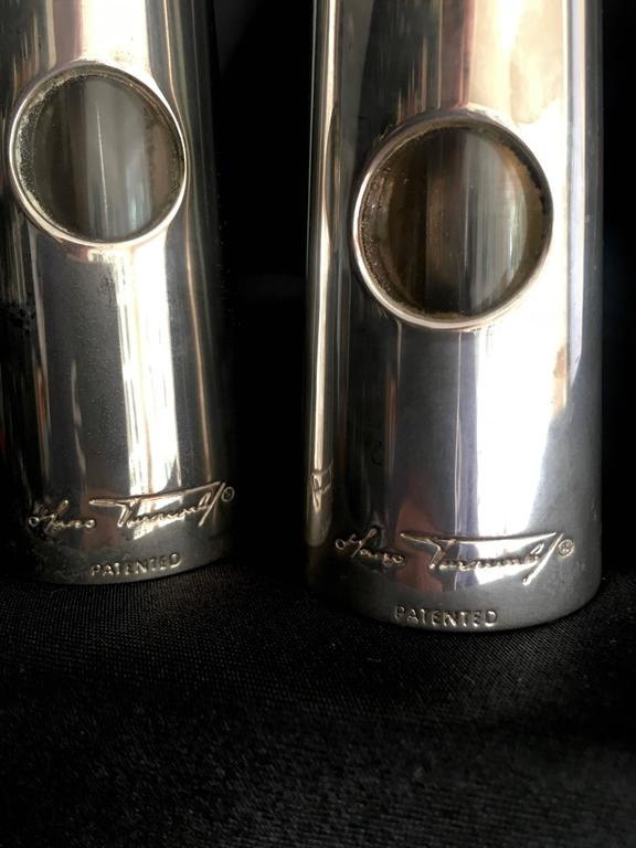 Hans Turnwald Art Carved Bone Salt and Pepper Shakers / Grinders In Excellent Condition For Sale In Los Angeles, CA