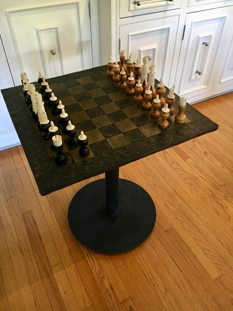 Metal mexican chess board table with hand carved wooden chess men for sale at 1stdibs - Wooden chess tables ...