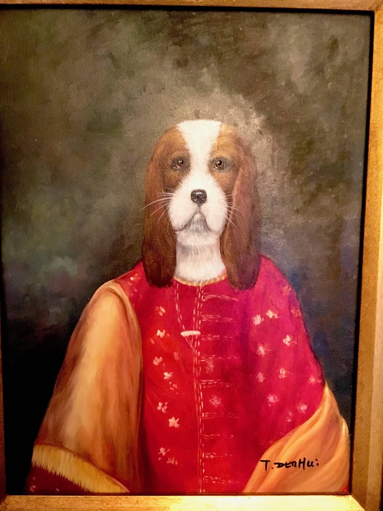 Oil portrait of a Beagle dog in heavy gilt frame, do you love your dog, a dog or just have a passion for canines, perhaps you have a thing for fur and robes?  This portrait is a perfect complement to the animal lover or just a wall that is in need